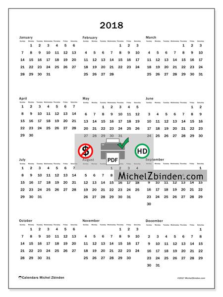 Calendar  2018, Ciriacus