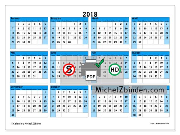 Calendar  2018, Fabricius