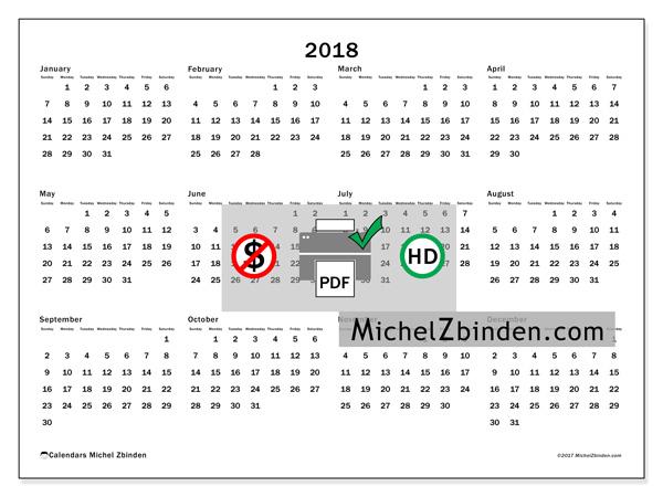 Calendar  2018, Gregorius