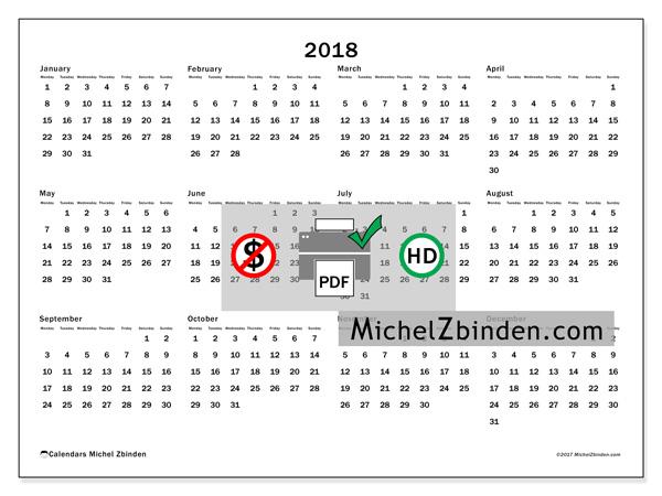 Calendar 2018 free to print. Annual calendar : Gregorius (M). Week ...