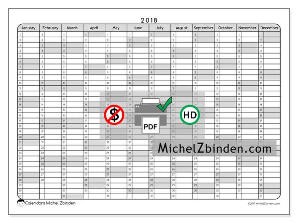 Calendar  2018, Hostus