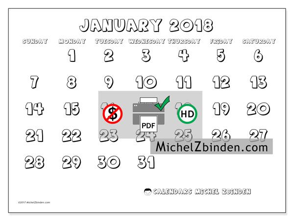 Calendar January 2018, Adrianus