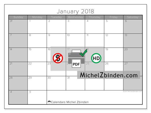 Calendar January 2018, Carolus