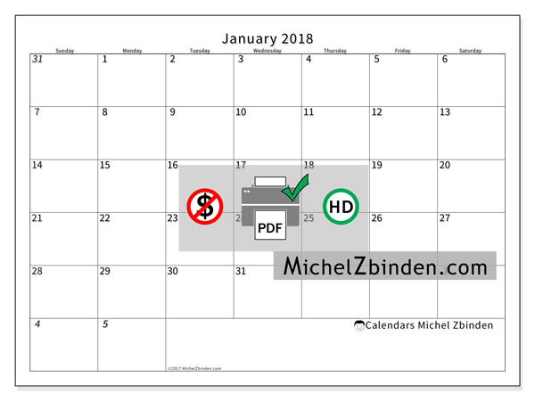 Calendar January 2018, Deodatus