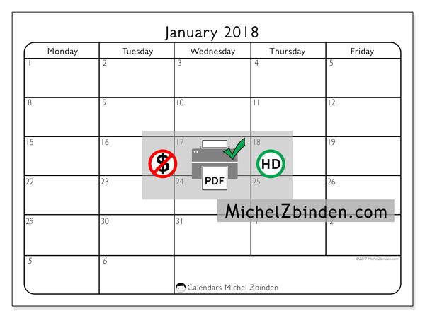 Calendar January 2018, Egidius