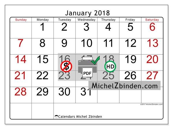 Calendar January 2018, Emericus