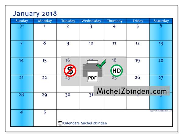 Calendar January 2018, Fidelis