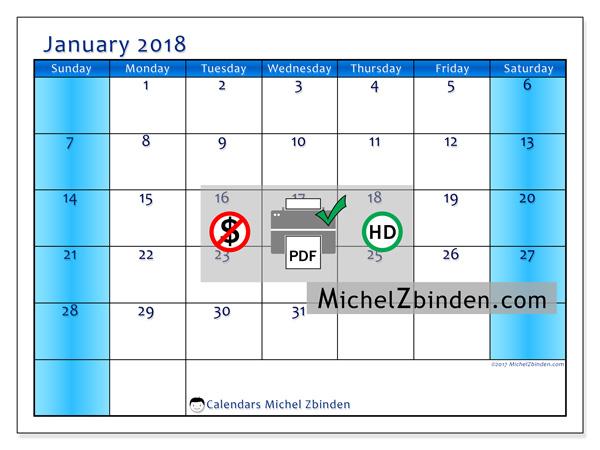 Calendar January 2018, Herveus