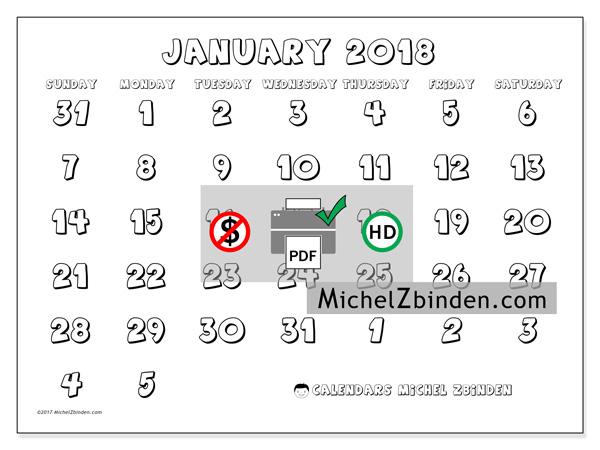 Calendar January 2018, Hilarius
