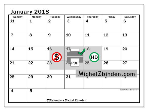 Calendar January 2018, Julius