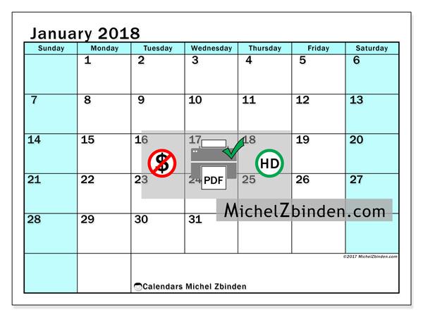 Calendar January 2018, Laurentia