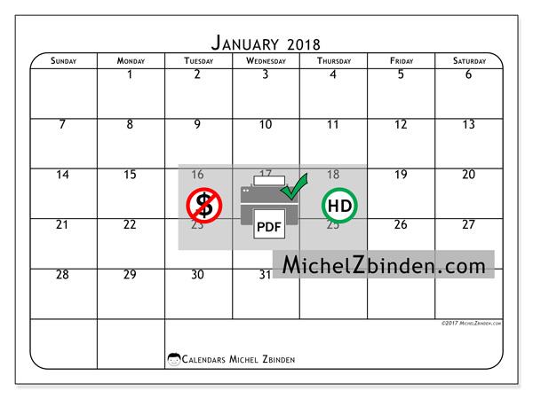 Calendar January 2018, Marius