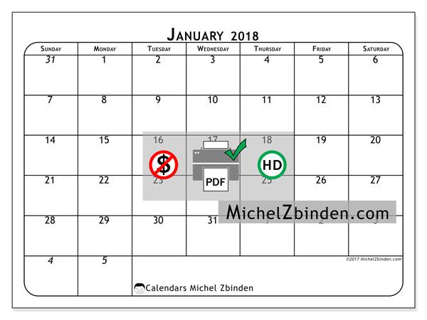 Calendar January 2018, Maximus