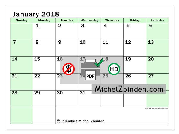 Calendar January 2018, Nereus