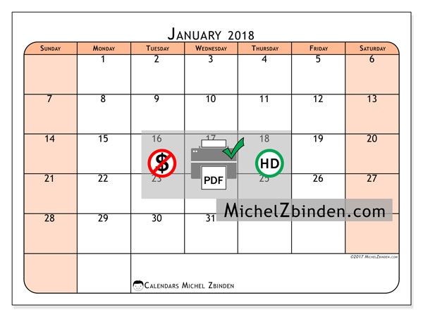 Calendar January 2018, Olivarius