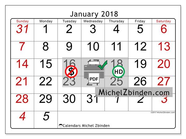 Calendar January 2018, Oseus
