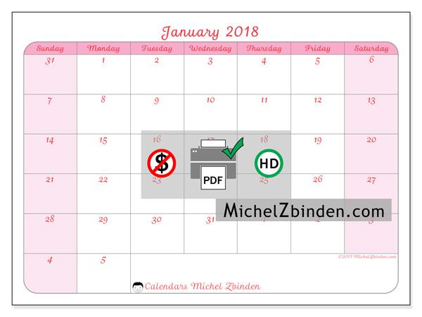 Calendar January 2018, Rosea