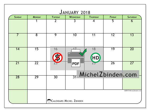 Calendar January 2018, Silvanus