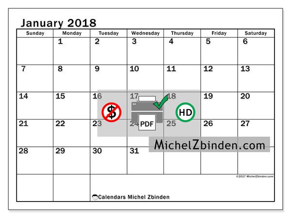 Calendar January 2018, Tiberius