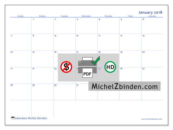 Calendar January 2018, Ursus