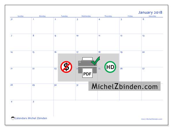 Calendar January 2018, Vitus