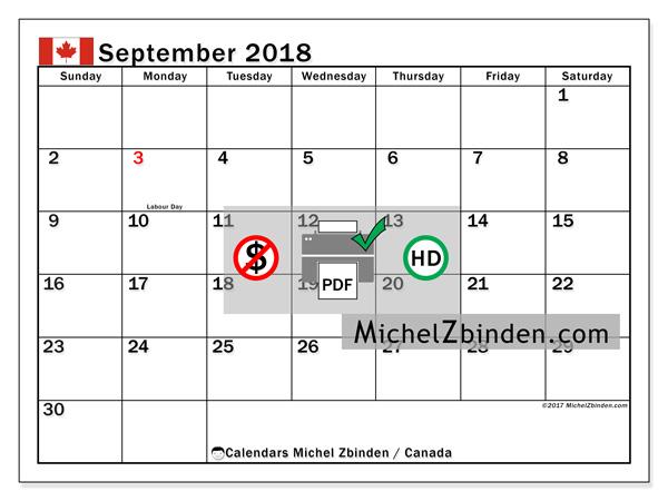 Calendar to print September 2018 - Public Holidays in Canada - Canada