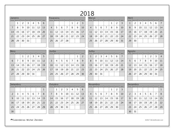 Calendário  2018, Albertus
