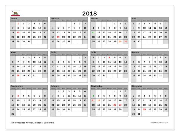 Calendario  2018, Días feriados en el EE.UU.