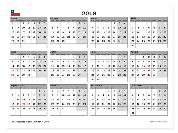 Calendario  2018, Días feriados en Chile