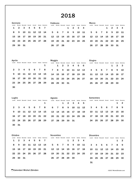 Calendario  2018, Ciriacus