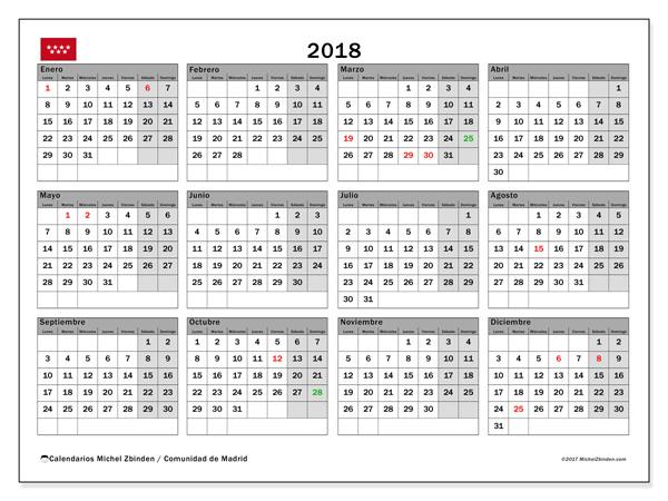 Calendario  2018, Días festivos en España