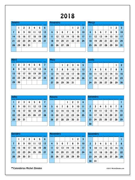 Calendário  2018, Elegius