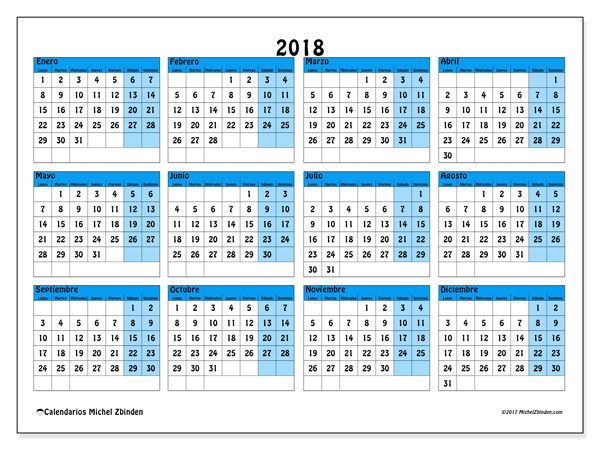 Calendario  2018, Fabricius