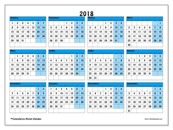 Calendário  2018, Fabricius