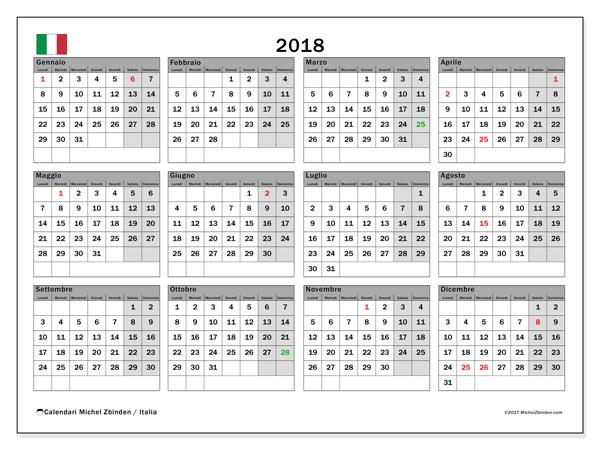 Calendario  2018, Giorni festivi in Italia