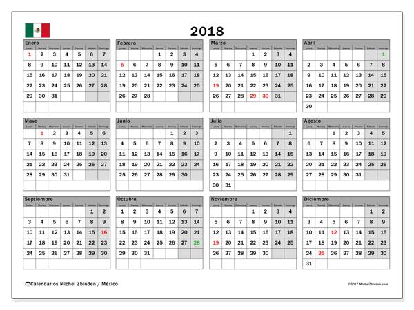 Calendario  2018, Días feriados en México