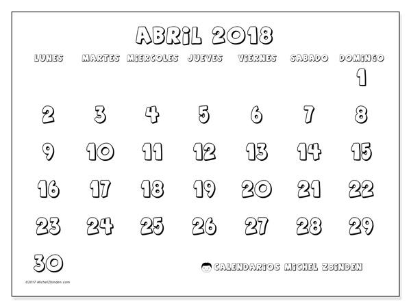 Calendario abril 2018 - Adrianus (cl)