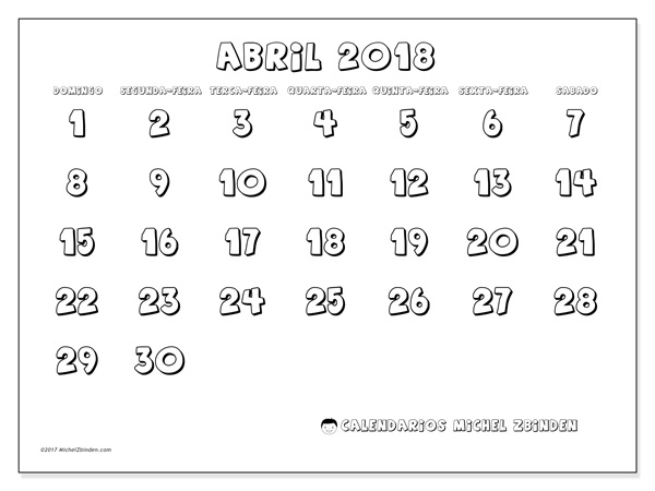 Calendário abril 2018 - Adrianus (br)