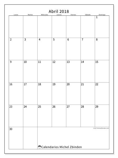 Calendario abril 2018, Antonius