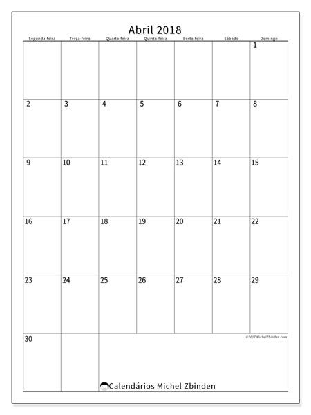 Calendário abril 2018, Antonius