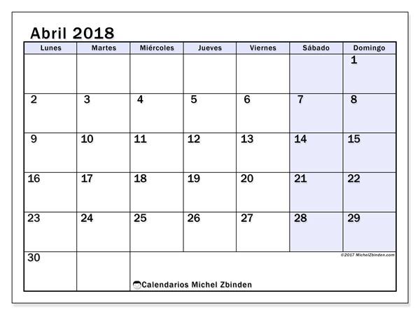 Calendario abril 2018, Auxilius