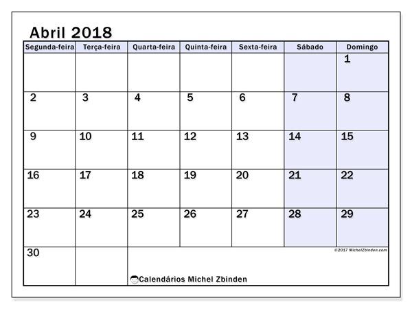 Calendário abril 2018, Auxilius