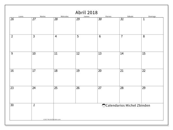 Calendario abril 2018 - Deodatus (cl)