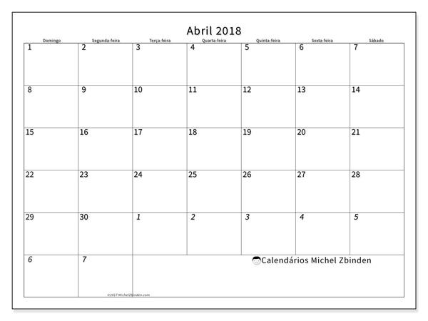 Calendário abril 2018 - Deodatus (br)