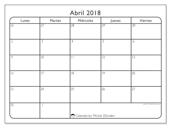 Calendario abril 2018 - Egidius (cl)