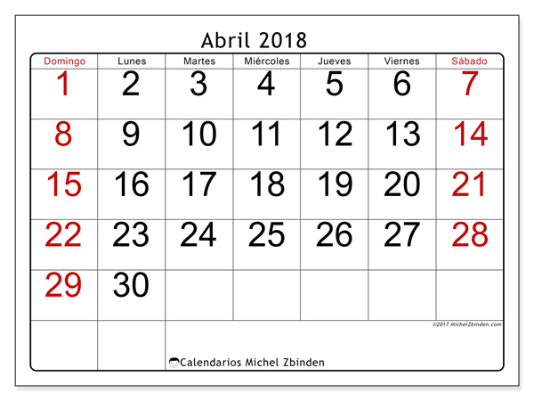 Calendario abril 2018, Emericus