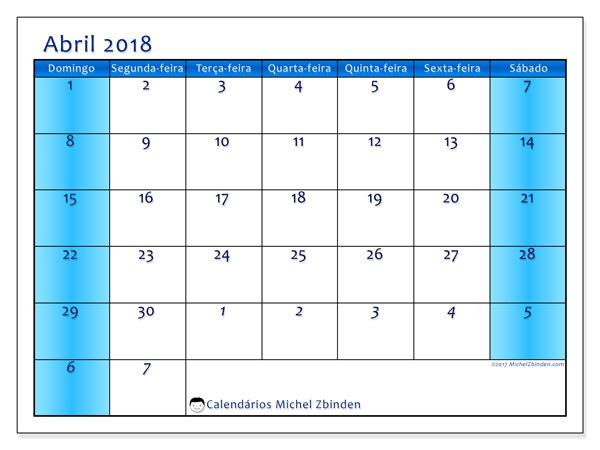 Calendário abril 2018, Fidelis