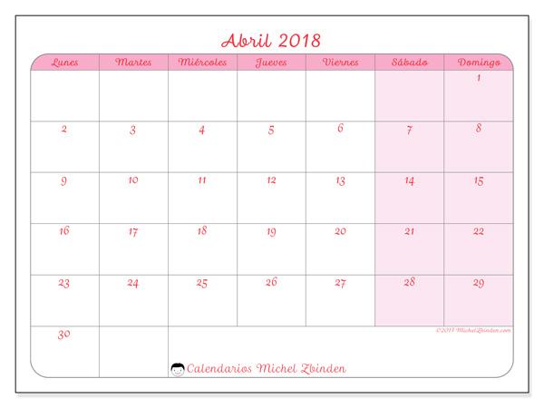Calendario abril 2018, Generosa