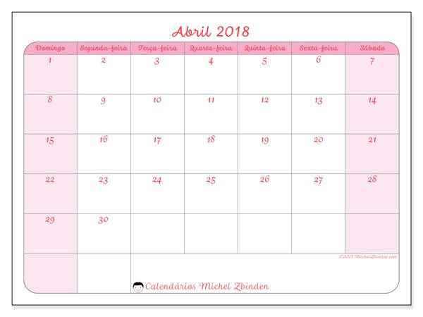 Calendário abril 2018, Generosa