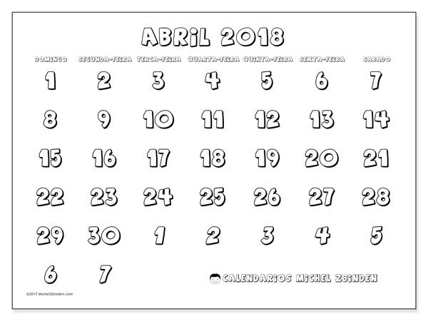Calendário abril 2018, Hilarius